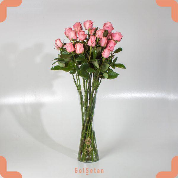 گل رز صورتی گلبهی