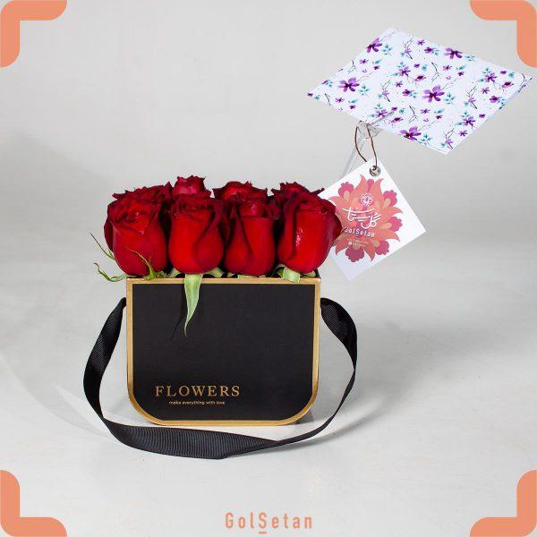 جعبه گل رز هلندی لاکچری و دسته دار
