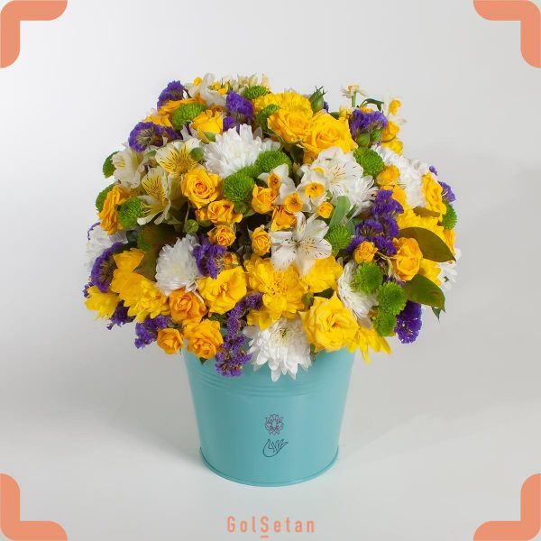باکس گل شادی با گلهای زرد سفید