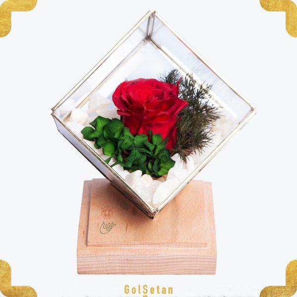 باکس گل رز جاودان فلزی آبگینه