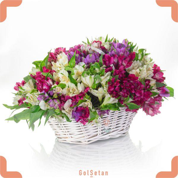 سبد گل زیبای آلسترومریا