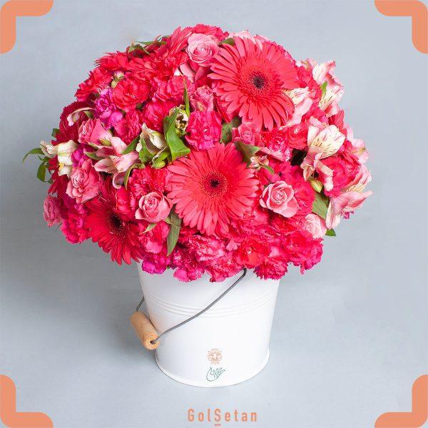 باکس گل ژربرا و رز زیبا و دست داشتنی