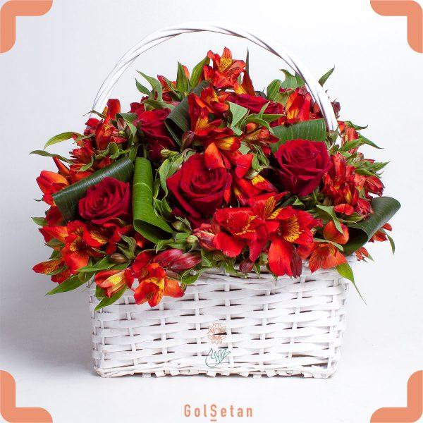 سبد گل رز و آلستر قرمز زیبا و عاشقانه