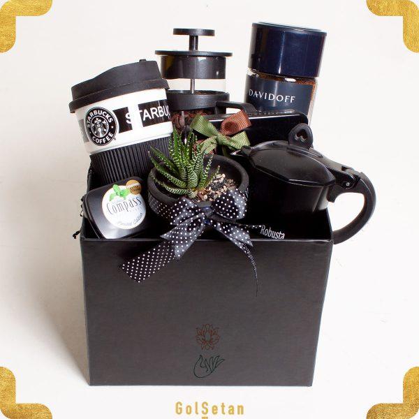 باکس هدیه قهوه با گلدان هاورتیا